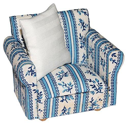 Miniatur Sessel mit Kissen - für Puppenstube Maßstab 1:12 - blau & weiß gemustert - Puppenhaus Puppenhausmöbel Sofasessel Wohnzimmer Klein - für Wohnzimmerlandschaft - Puppensofa - Möbel Wohnlandschaft - Miniatur Diorama -