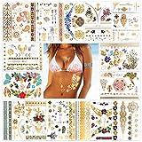 Tatouages temporaires pour femme sexy (14 feuilles), Konsait Faux Tatouages Temporaires Tattoos Étanche Métalliques Brillants Tatouages Éphémères Dorés Autocollants pour Femmes