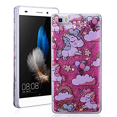 SmartLegend Huawei P8 LITE Case , Bling Plastic Bumper Cartoon Unicorn Glitter Quicksand Case for Huawei P8 LITE Glitter Hard Back Cover Lightweight Protective Phone Case -Pink