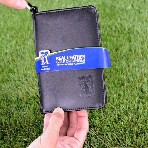PGA TOUR Score Karte und Zubehörtasche aus echtem Leder , schwarz - 3