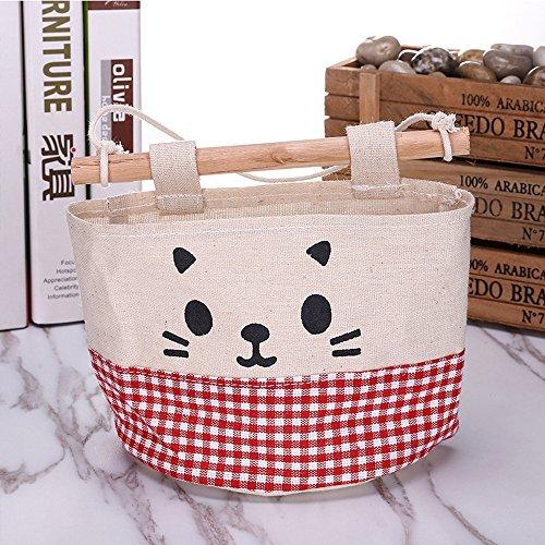 Berrose-Baumwolle Cartoon Katze Hängende Aufbewahrungstasche Trümmertasche Wand Kombination Mehrschichtiges Gewebe Kleiderschrank Tasche -Süße Muster hängende Wall Pouch Fashion