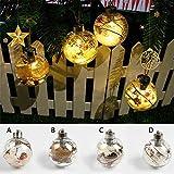 Klar Glas Kugeln mit Lichter, 4Weihnachtskugeln Aufhängen transparent Glitzer Christbaumkugeln traditionellen Baum Dekorationen 8cm, PVC, Style_D, 8 cm