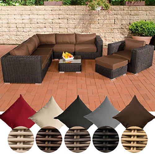 CLP Polyrattan - Gartenlounge ARIANO inklusive Polsterauflagen | Garten-Set bestehend aus einem Ecksofa, einem Sessel, einem Hocker und einem Loungetisch | In verschiedenen Farben erhältlich Rattan Farbe schwarz, Bezugfarbe: Terrabraun
