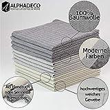 Alphadeco 4 Stück Stoff-Servietten & Geschirrtuch im Modernen Zigzag Fischgrät Design - 44x44cm - 100% Baumwolle (Beige) - 6