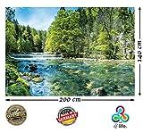 Fototapete Bachlauf in Schweiz Natur HD XXL Poster 200 cm x 140 cm Hochauflösende Wand-dekoration Bild für Wandgestaltung | Fotoposter Landschaft Wand-tapete Bäume Bach Wasserfall | (200 cm x 140 cm - 2 Teile)