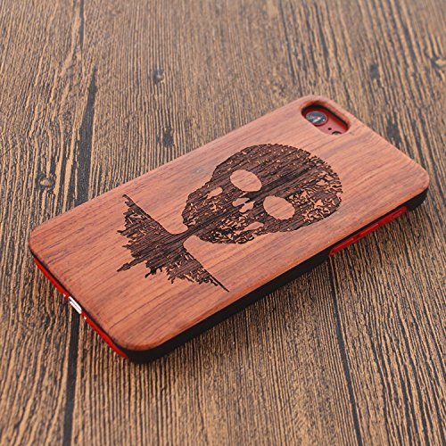 Legno Naturale Case Cover per iPhone 7 (4.7 pollici) , Vandot scratch resistantAdvanced vero legno Wooden Intaglio Pattern Legno Naturale Back Cover shock-absorption Nero Opaco Shell hard PC bumper ca Designo 3