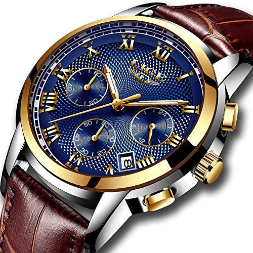 8075b1b9a8f1 Reloj Cronógrafo Cuarzo Hombres Impermeable Lujo Casual Negocios Relojes  Hombre Con Correa de Cuero
