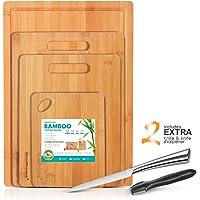 Masthome Set di 4 Taglieri Spessi in Bamboo per Cucina con Tacca per Succo Tagliere Legno in Bambu Professionale con 1 Affilacoltelli e 1 Coltello da Cucina Addizionale