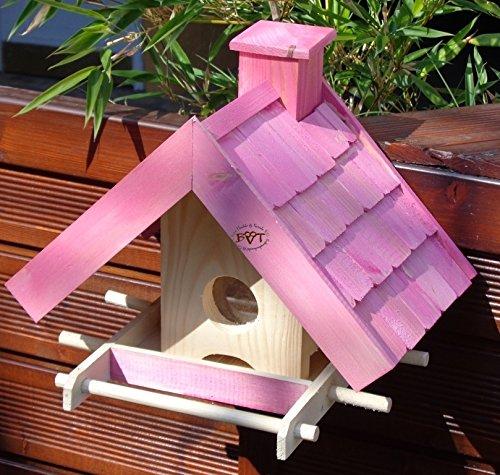 Vogelfutterhaus,BEL-X-VOWA3-pink002 Großes Vogelhäuschen + 5 SITZSTANGEN, KOMPLETT mit Futtersilo + SICHTGLAS für Vorrat PREMIUM Vogelhaus – ideal zur WANDBESTIGUNG – vogelhäuschen, Futterhäuschen WETTERFEST, QUALITÄTS-SCHREINERARBEIT-aus 100% Vollholz, Holz Futterhaus für Vögel, MIT FUTTERSCHACHT Futtervorrat, Vogelfutter-Station Farbe pink rosa rosarot süß, MIT TIEFEM WETTERSCHUTZ-DACH für trockenes Futter - 4