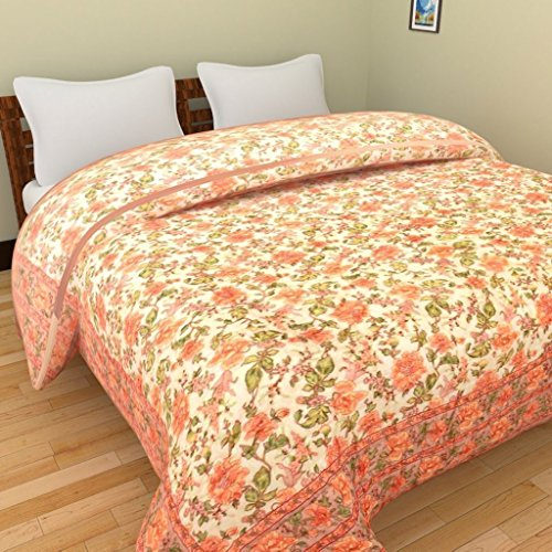 Jaipuri World Famous Light weight Pure Cotton Traditional Rajasthani Print Orange Colour Single Bed Quilt /Razai / Rajai