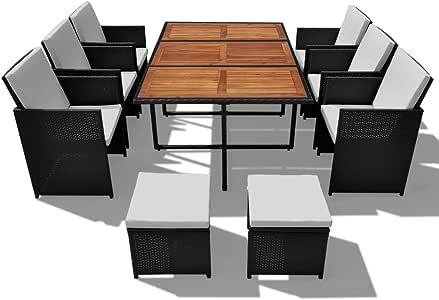 Festnight salon de jardin Jeu de salle à manger 27 pcs Rotin synthétique  Acacia Noir