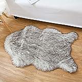 iCasso Alfombra de piel de oveja sintética, suave, peluquería suave, funda de alfombra grande antideslizante, alfombrillas para silla, sofá, cama, suelo con lana extra larga, 60 x 90 cm