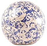 Esschert Design Dekokugel, Gartenkugel aus Keramik in blau-weiß, Größe L,  ca. 18 cm