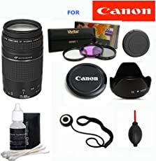 Canon EF 75-300mm f/4-5.6 III Zoom Lens for Canon EOS 7D 60D EOS Rebel SL1 T1i T2i T3 T3i T4i T5i XS XSi XT XTi Digital SLR Cameras + Micro Fiber Cleaning Cloth