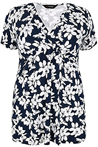 Plus Size Womens Floral Print Top With Waist Tie, Plus Size 16 To 36 Size 22-24 Navy