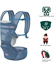 NOYMI Ergonomic Baby Carrier with Hip Seat, Breathable Baby Carriers with Detachable Seat Adjustable Waist Strap for 30-45inch Waist - 6 Positions to Carry Your Newborn, Infant, or Toddler(Blue)