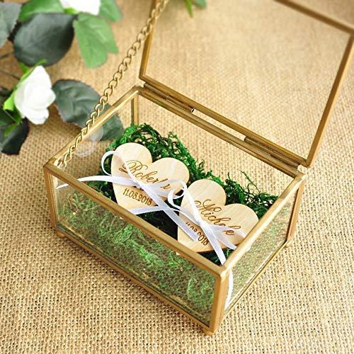 Jiaxingo Personalisierte Glas Ring Box Kupfer Hochzeit Ring Inhaberaktien Box Glasmalerei Ring Kissen Sechseck-box Geometrische Schmuck Box (Ring Inhaberaktien Kissen)