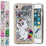 E-Mandala Apple iPhone 6S Plus 6 Plus Hülle Glitzer Flüssig Liquid Cover Handyhülle Schutzhülle Transparent mit Muster Durchsichtig Tasche Silikon - Einhorn Katze