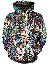 SHANGXIAN Unisexo Anime Sudaderas con Capucha Pull-Over Rick y Morty Personajes de Dibujos Animados