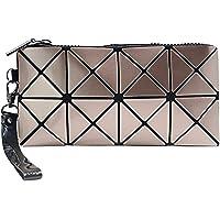 whatUneed Geometrische Leuchtende Geldbörse und Handtaschen für Damen Holographische Tasche Top-Griff mit Reißverschluss…