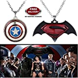 "(2 Pcs SET) - BATMAN SUPERMAN DAWN OF JUSTICE LOGO (BLACK METAL) & CAPTAIN AMERICA SHIELD REVOLVING IMPORTED PENDANTS WITH CHAIN. LADY HAWK DESIGNER SERIES 2018. ❤ ALSO CHECK FOR LATEST ARRIVALS OF ""LADY HAWK"" BRAND PRODUCTS - NOW LIS"