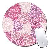 Tapis de souris rond personnalisé, motif de fleur rose imprimé, tapis de souris personnalisé confortable en caoutchouc antidérapant (7.87x7.87inch)