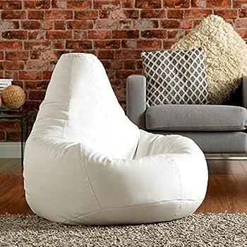 Bean Bag Bazaar® Pouf Poire designer inclinable de jeux Faux Cuir- Chaise Pouf Poire Extra Large (Blanc)