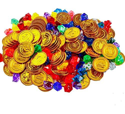 Goldmünzen des Piratenschatz,72er Pack Kunststoff Goldmünzen + 72er Pack Piraten Schmucksteine Schätze für Kinder Piraten-Partys Piratenparty Mitgebsel Spielzeug