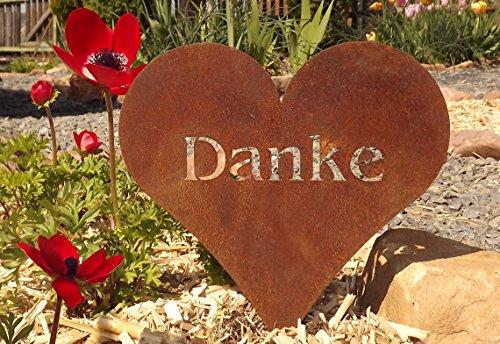 Manufakt-Design Stecker-Herz für Ihre Liebsten mit der Aufschrift DANKE - 20 cm: Wunderschöne Dekoidee mit Herz zu verwenden als Gartendekoration, Ihr Zuhause in Blumen oder Gestecken - Dekoherz