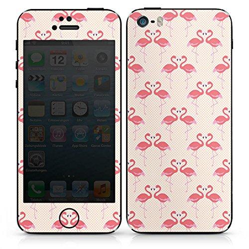 Apple iPhone SE Case Skin Sticker aus Vinyl-Folie Aufkleber Flamingo Pink Sommer DesignSkins® glänzend