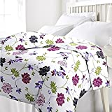 #7: Renown Pretty Violet Floral Design Reversible Double Bed Quilt / AC Blanket / Dohar ( Pack Of 1 Pc )
