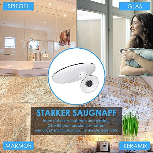 Auxent Kosmetikspiegel LED Beleuchtet mit 10x Vergrößerung und Saugnapf, 360° Schwenkbar, Make-Up-Spiegel Schminkspiegel mit Blendfreier Beleuchtung für Zuhause und Unterwegs - 4