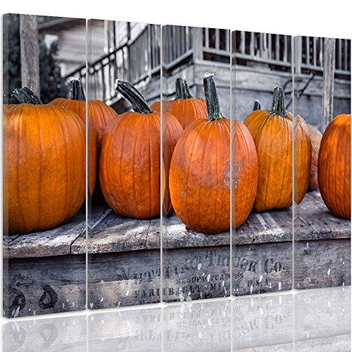 Feeby Frames, Quadro multipannello di 5 pannelli, Quadro su tela, Stampa artistica, Canvas Tipo C, 70x100 cm, ZUCCA, ORTAGGIO, ORANGE, RUSTICO