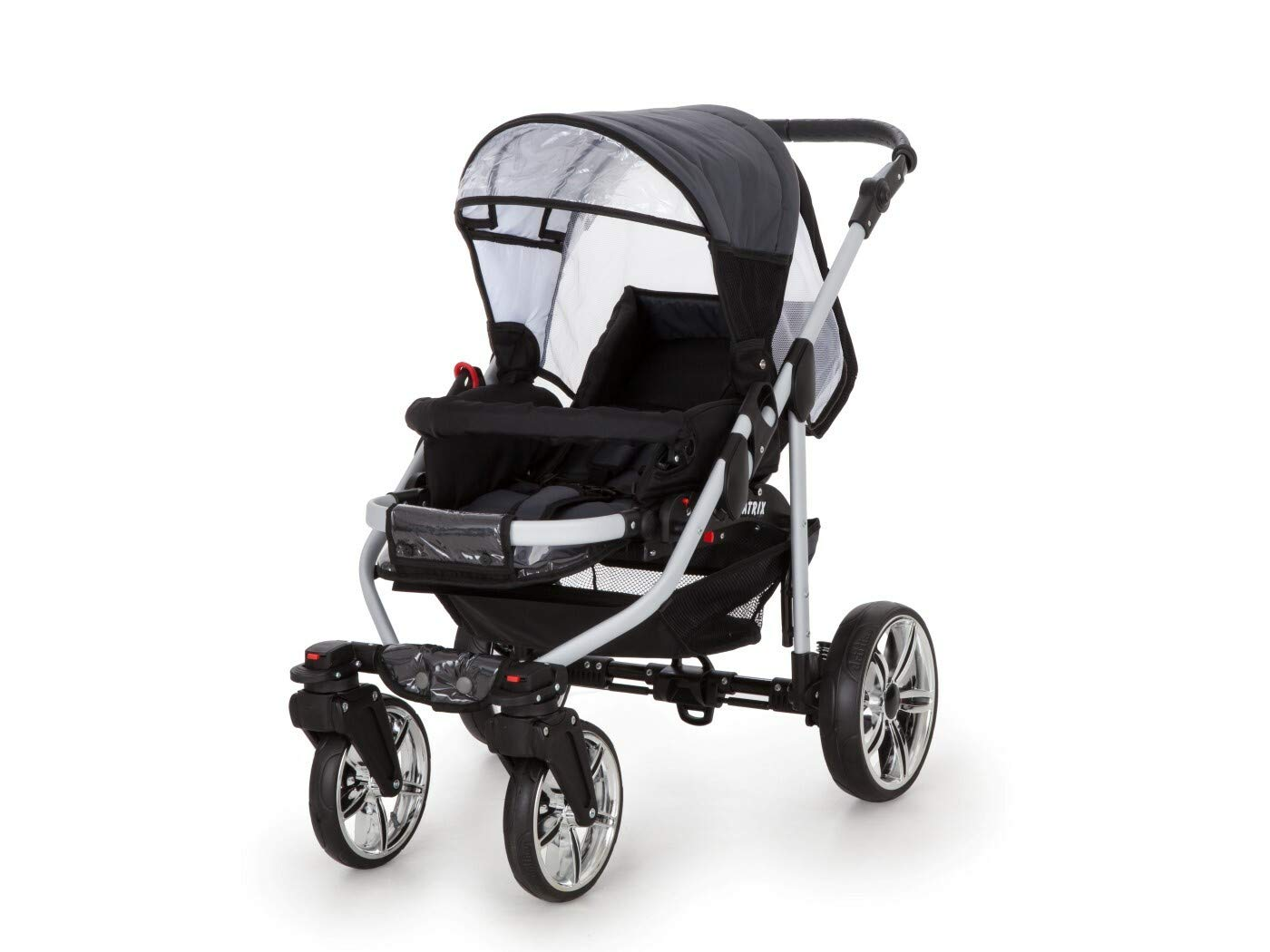 Travel System Stroller Pram Pushchair 2in1 3in1 Set Isofix X-Car by SaintBaby Black & Check 3in1 with Baby seat SaintBaby 3in1 or 2in1 Selectable. At 3in1 you will also receive the car seat (baby seat). Of course you get the baby tub (classic pram) as well as the buggy attachment (sports seat) no matter if 2in1 or 3in1. The car naturally complies with the EU safety standard EN1888. During production and before shipment, each wagon is carefully inspected so that you can be sure you have one of the best wagons. Saintbaby stands for all-in-one carefree packages, so you will also receive a diaper bag in the same colour as the car as well as rain and insect protection free of charge. With all the colours of this pram you will find the pram of your dreams. 6