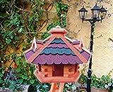 XXL Gartendeko aus Holz, große mit Silo mit ROT dunkelrot BLAU blaugrauEM DACH /ohne Ständer Bitumenschindeln Vogelhaus, Gartendeko , große Größen, auch mit vogelhausständer und Silo, ACHTUNG kein Bausatz von amazon oder zum Bemalen