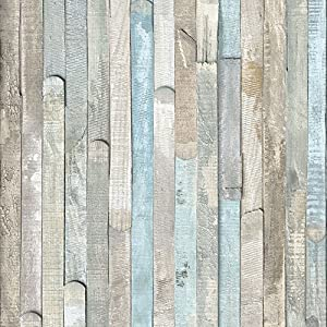 Klebefolie für Möbel Küche Tür & Deko I Selbstklebende Folie I Möbelfolie I Vintage Tapete I Fototapete in Shabby Chic Holzoptik I inkl. Filzrakel I Holz bunt gebleicht I Rio Ocean [200 x 67,5cm]