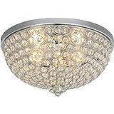 Karmiqi Crystal Ceiling Light, 2-Light Modern Flush Mount Light Fixture for Living Room, Bowl Shaped Chrome Finish E27 Ceilin