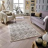 Savannah Chevron Teppich in Creme und Natur, Naturfarben, Blacks, 80X150cm