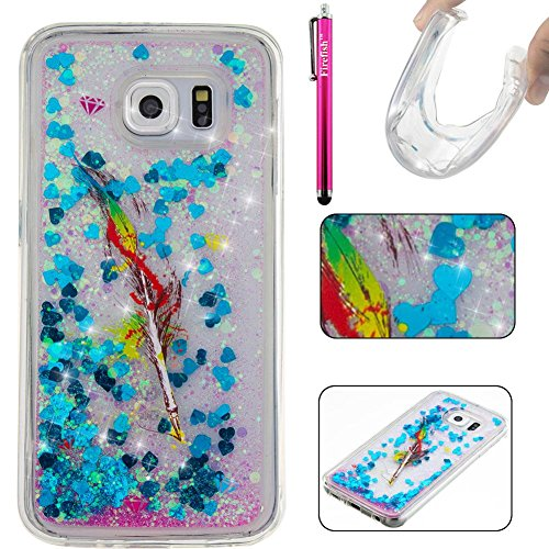 Galaxy S6 Hülle, Firefish Thin Sparkle Flexible TPU Gel Silikon [Ultra Thin] [Kratzfestigkeiten] Zurück Cover Shell für Samsung Galaxy S6 (Sparkle Mikrofon)