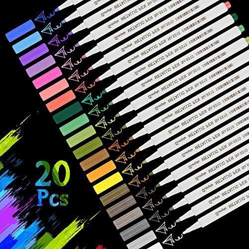 Nasharia Metallic Marker Stifte, 20 Farben Metallic Marker Pens Premium Metallischen Marker Stifte Set für DIY Fotoalbum, Gästebuch, Hochzeit, Glas, Kunststoff, Stein, Holz - Feiner Spitze (1MM)