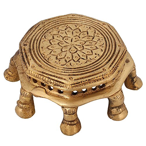 Indian Chowki Pedestal For Seating Hindu Gods Statues Sculptures 2.5 inch