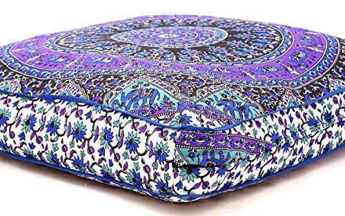Generic indischen Psychedelic Elefanten Mandala Boden Kissen quadratisch osmanischen Pouf Sofa Übergroße Kissenbezug Outdoor Sofa Überwurf groß Boden Kissen 88,9x 88,9cm, weiß & blau -