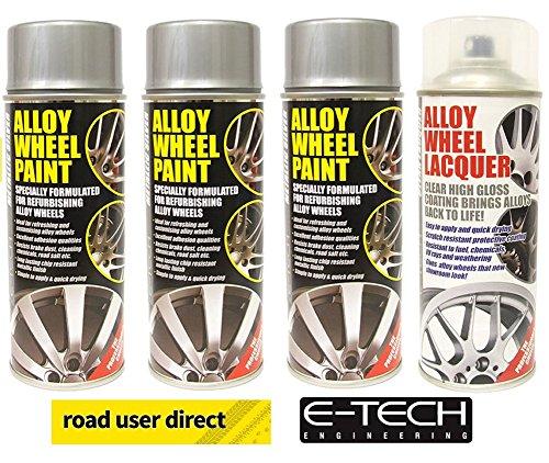 E-Tech Juego para llantas de aleación de coche con 3aerosoles de pintura de color plateado y 1aerosol de laca transparente, de, 4botes en total