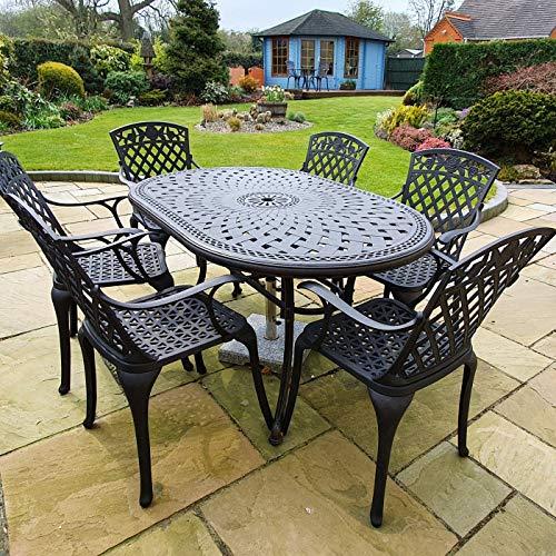 Lazy Susan - June 150 x 95 cm Ovaler Gartentisch mit 6 Stühlen - Gartenmöbel Set aus Metall, Antik Bronze (Rose Stühle) (Esstisch-set Ovaler 6 Für)