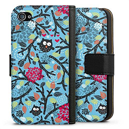 Apple iPhone X Silikon Hülle Case Schutzhülle Eulen Muster Blätter Sideflip Tasche schwarz