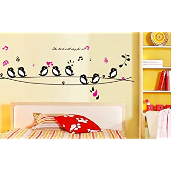 Decals design cute singing birds wall sticker pvc vinyl 50 cm x 70 cm