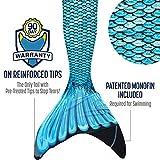 Fin Fun Mermaid Tail, Verstärkte Tips, MONOFLOSSE INKLUSIVE, Tidal Teal, Größe Erwachsene XS