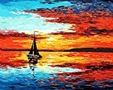 Dipingi con i numeri, pittura diy della barca a vela da Skyline Horizon Tela stampa della parete di arte della decorazione della casa Senza Frame by Rihe