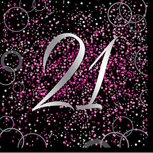 Unique Papierservietten mit Foliendruck für den 21. Geburtstag,rosa,16er pack