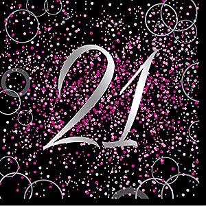 Unique Party- Paquete de 16 servilletas de papel de 21 cumpleaños, Color rosa metálico brillante (57479)